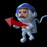 3d Astronaut holding a red arrow. 3d render of a pilot holding a red arrow Royalty Free Stock Image