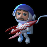 3d Astronaut playing with a rocket. 3d render of an astronaut floating in space and holding a small red rocket Stock Photos