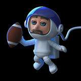 3d Astronaut plays football in space. 3d render of an astronaut playing American football in space Royalty Free Stock Photo