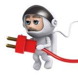 3d Astronaut power. 3d render of an astronaut holding a power lead Stock Photos