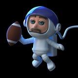 3d Astronaut speelt voetbal in ruimte vector illustratie