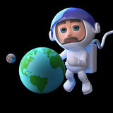 3d Astronaut studies the Earth and Moon. 3d render of a spaceman floating with a globe of the Earth and Moon Stock Images