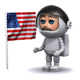 3d Astronaut with USA flag. 3d render of an astronaut standing next to the American flag Royalty Free Stock Images