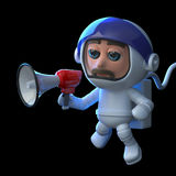 3d Astronaut using a megaphone in space. 3d render of an astronaut in space using a megaphone Royalty Free Stock Images
