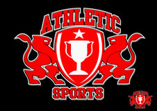 3D Athletic sports red emblem on black background Stock Photos