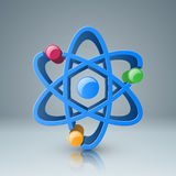 3d atom icon with color circle. Atom icon on the grey background. 3d logo Stock Photography