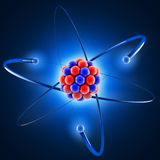 3d atom. 3d illustration on dark background Stock Photography