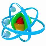 3d atom. Isolated on white background Stock Photography