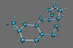 3D Atom Structure. A 3D Atom Structure Model on a grey background Royalty Free Stock Images