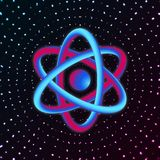 3D Atom Structure. Vector illustration. 3D Atom Science on dark background. Vector illustration Royalty Free Stock Photography