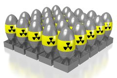 3D atomic bombs. With radioactivity signs isolated on white background vector illustration