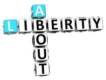 3D au sujet des mots sociaux de cube en Liberty Life Crossword Photographie stock libre de droits