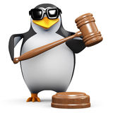 3d Auctioneer penguin. 3d render of a penguin using a gavel Royalty Free Stock Photos