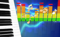 3d audio spectrum piano keys Stock Photos