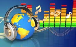 3d audio spectrum world in headphones Royalty Free Stock Photo
