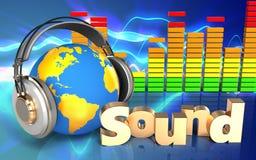 3d audio spectrum world in headphones Royalty Free Stock Photography