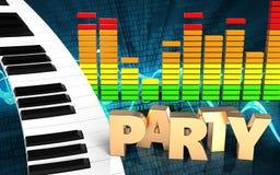 3d audio widma fortepianowa klawiatura Obrazy Stock