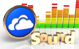 3d audio widmo chmurnieje symbol ilustracji