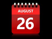 3d 26 august calendar. 3d illustration of august 26 calendar over black background Royalty Free Stock Images
