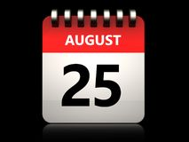 3d 25 august calendar. 3d illustration of 25 august calendar over black background royalty free illustration