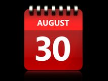 3d 30 august calendar Royalty Free Stock Photography