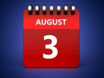 3d 3 august calendar. 3d illustration of august 3 calendar over blue background Stock Images