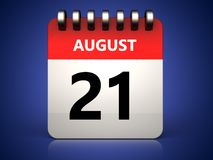 3d 21 august calendar. 3d illustration of 21 august calendar over blue background vector illustration