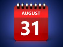 3d 31 august calendar. 3d illustration of august 31 calendar over blue background Royalty Free Stock Photos