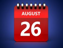 3d 26 august calendar. 3d illustration of august 26 calendar over blue background Stock Image