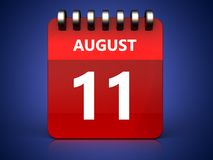 3d 11 august calendar. 3d illustration of august 11 calendar over blue background Royalty Free Stock Photography