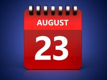 3d 23 august calendar Royalty Free Stock Photography