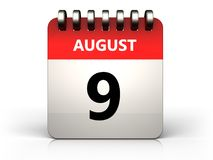 3d 9 august calendar. 3d illustration of 9 august calendar over white background stock illustration
