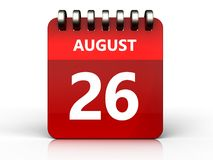 3d 26 august calendar. 3d illustration of august 26 calendar over white background Royalty Free Stock Image