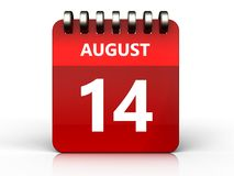 3d 14 august calendar. 3d illustration of august 14 calendar over white background Royalty Free Stock Photos