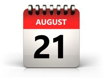 3d 21 august calendar. 3d illustration of 21 august calendar over white background stock illustration