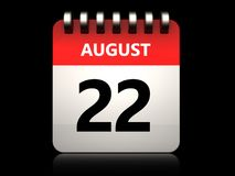 3d 22 august calendar. 3d illustration of 22 august calendar over black background stock illustration