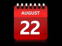 3d 22 august calendar. 3d illustration of august 22 calendar over black background Stock Photo