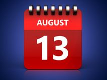 3d 13 august calendar. 3d illustration of august 13 calendar over blue background stock illustration