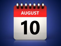 3d 10 august calendar. 3d illustration of 10 august calendar over blue background vector illustration