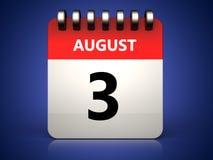 3d 3 august kalendarz royalty ilustracja