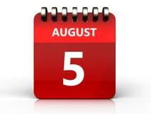 3d 5 august kalendarz Zdjęcie Stock