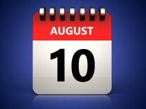 3d 10 august kalendarz Zdjęcia Stock