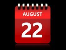 3d 22 august kalendarz Zdjęcie Stock