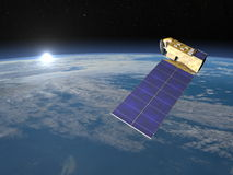 3D aurasatelliet - geef terug Stock Afbeeldingen
