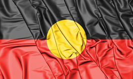 3D Australian Aboriginal Flag. 3D Illustration. Royalty Free Stock Photos