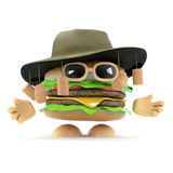 3d Australian beefburger. 3d render of a beefburger wearing an Australian bush hat with corks Royalty Free Stock Image