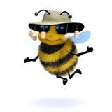 3d Australian honey bee. 3d render of a honey bee wearing an Australian bush hat Royalty Free Stock Photo
