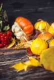 D'automne toujours la vie avec des potirons et des feuilles sur le vieux backgro en bois Photos stock