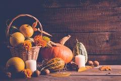 D'automne toujours la vie avec des potirons et des feuilles tombées Concept de thanksgiving, l'espace de copie Photographie stock libre de droits