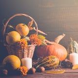 D'automne toujours la vie avec des potirons et des feuilles tombées Concept de thanksgiving, modifié la tonalité Photographie stock